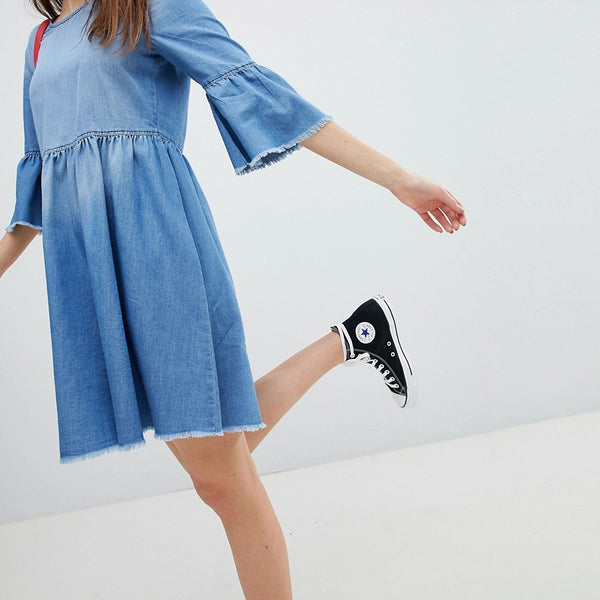 JDY Denim Skater Dress - Medium blue denim