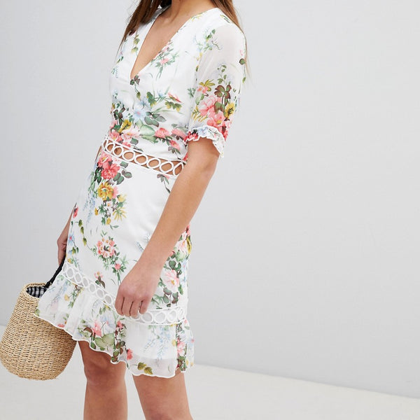 Parisian Floral Dress With Lattice Inserts - White