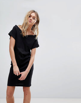 Cheap Monday Off The Shoulder Dress with Sleeve Logo - Black
