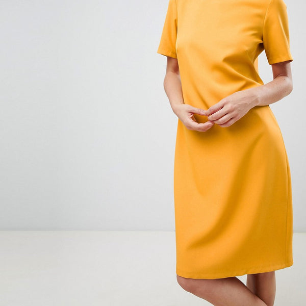Closet London cap sleeve shift dress in tangerine orange - Tangerine