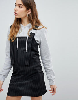 Pull&Bear Stripe Pinafore - Black