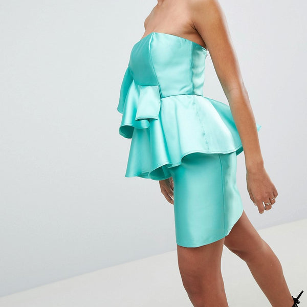 ASOS DESIGN Cocktail Mini Dress With Extreme Ruffles - Turquoise