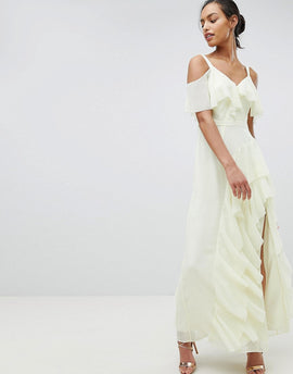 Coast Illy Ruffle Maxi Dress - Lemon