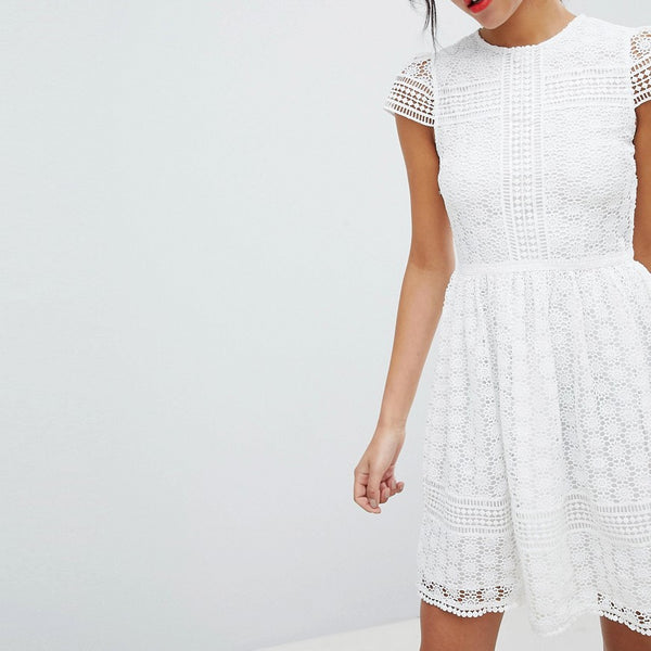 French Connection Lace Fit and Flare Dress - Summer white