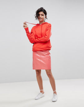 2NDDAY Patent Leather Pencil Skirt - Coral
