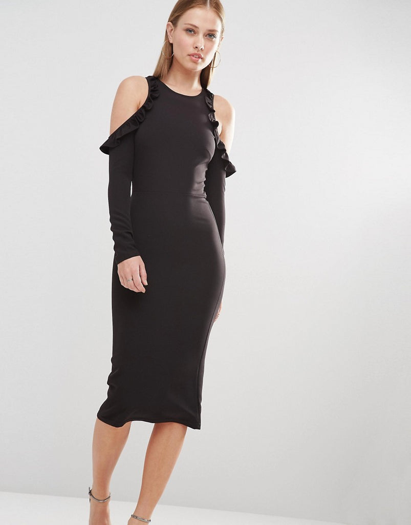 Oh My Love Cold Shoulder Midi Dress With Frill Detail - Black