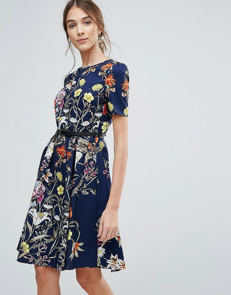 Uttam Boutique Floral Print Belted Dress - Navy