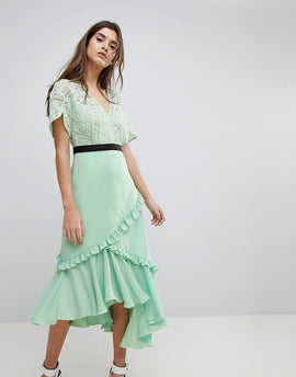 Three Floor Midi Dress With Lace Bodice - Spring green