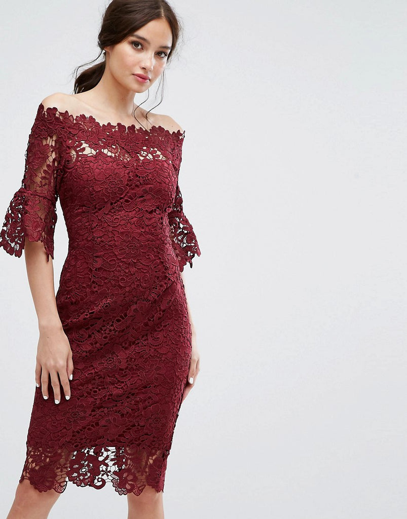 Paper Dolls Off Shoulder Crochet Dress With Frill Sleeve - Burgundy