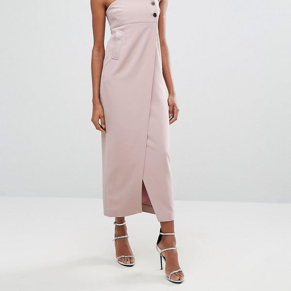 AQ/AQ Split Front Midi Dress With Button Detail - Rose taupe