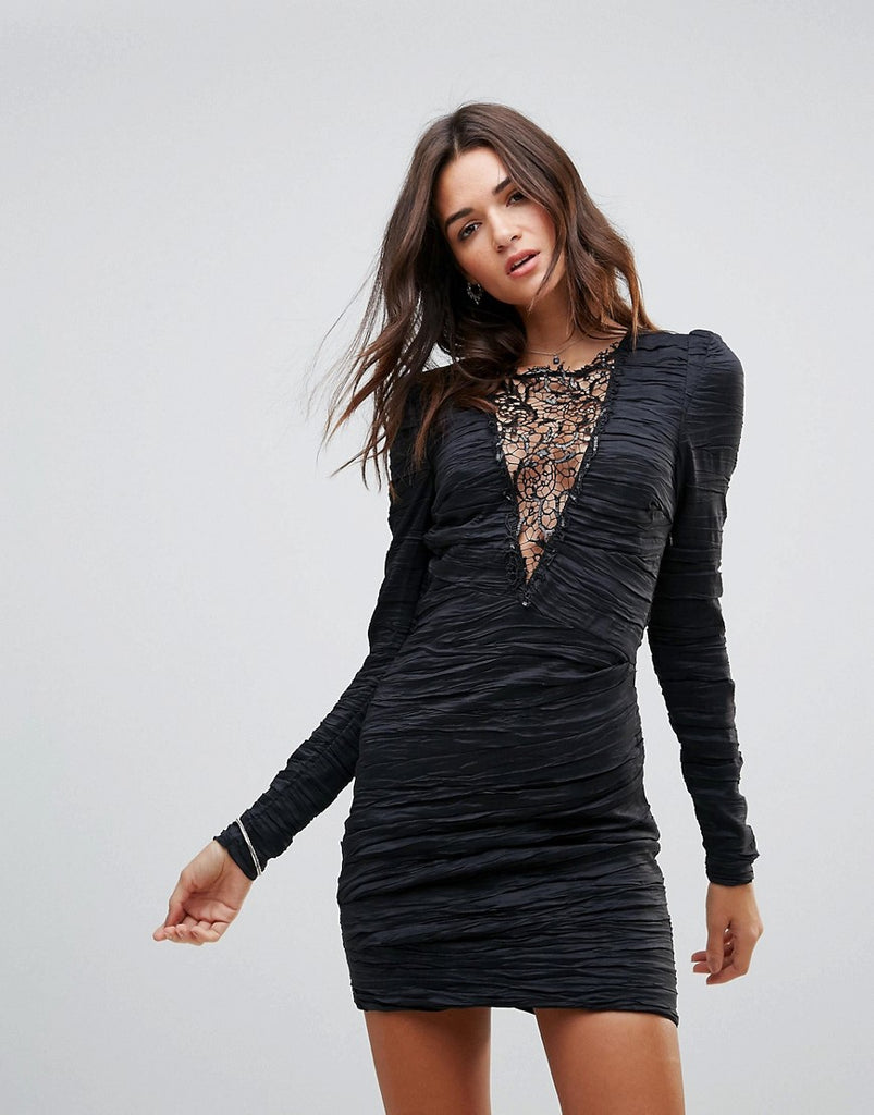 Free People Look Of Love Lace Insert Bodycon Dress - Black