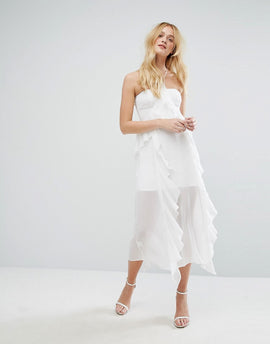 Aeryne Ruffle Midi Dress With Corset Detail Bustier - White
