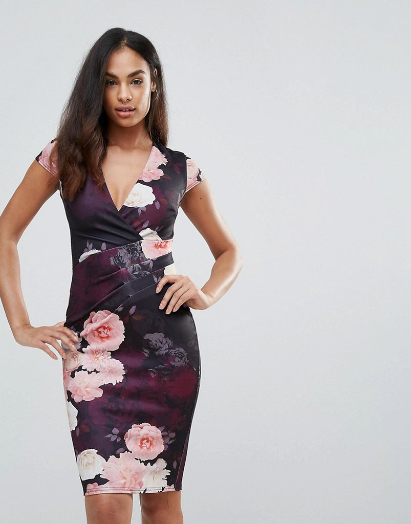 Jessica Wright Plunge Neck Floral Bodycon Dress - Multi