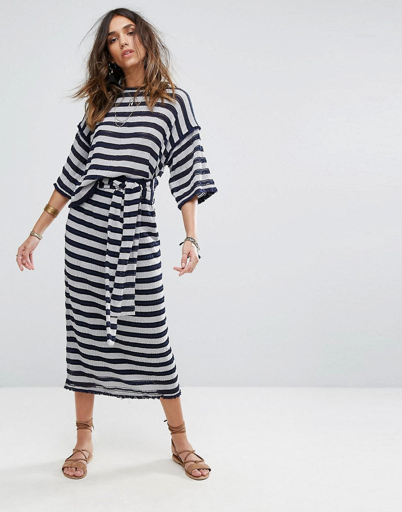 Moon River Stripe Knit Skirt - Navy/ivory