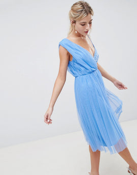 ASOS DESIGN Pleated Tulle Midi Prom Dress With Lace Bodice - Pastel blue