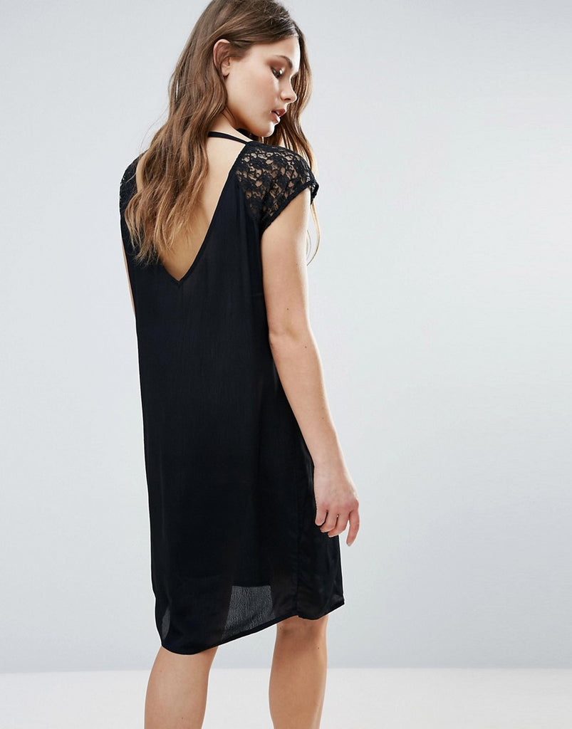 B.Young Midi Dress With Lace Sleeve & Open Back - Black