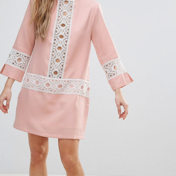 The English Factory Shift Dress With Crochet Detail - Nude pink