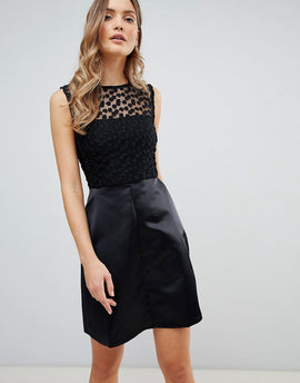 Zibi London Skater Dress With Lace Yoke - Black
