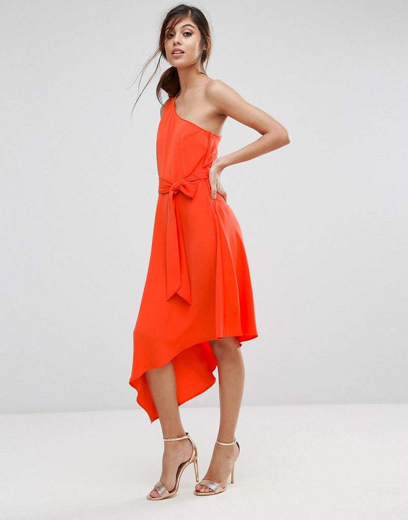 Warehouse One Shoulder Tie Waist Asymmetric Hem Midi Dress - Orange