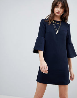 Cubic Diana Trumpet Sleeve Shift Dress - Navy