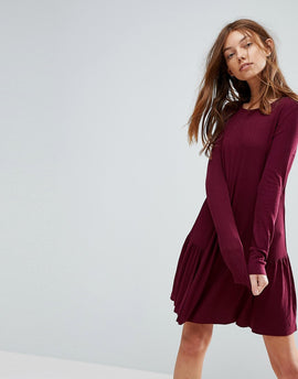 Pull&Bear Frill Hem Mini Dress - Burgundy