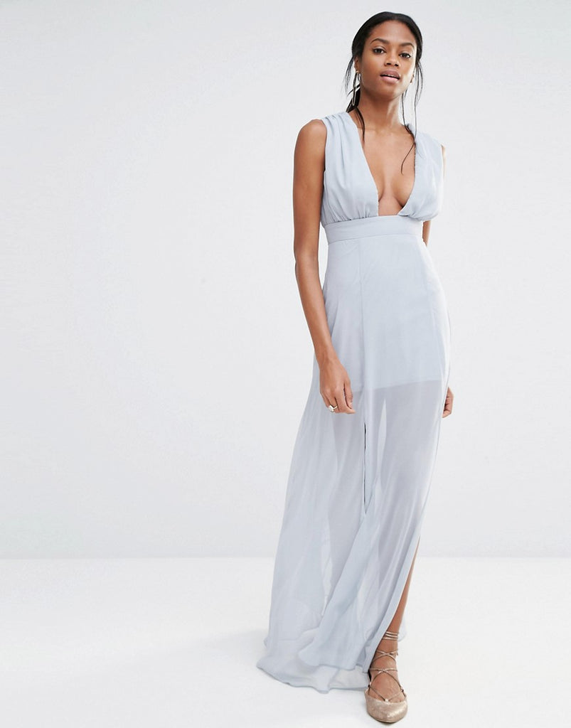 Missguided Deep Plunge Maxi Dress - Grey
