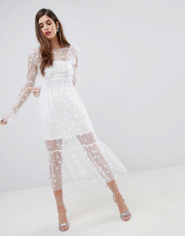For Love and Lemons Midi Tulle Dress - White