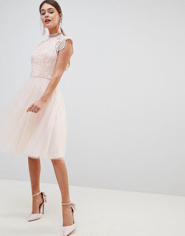Chi Chi London Cap Sleeve Lace 2 in 1 Midi Dress with Tulle Skirt - Blush