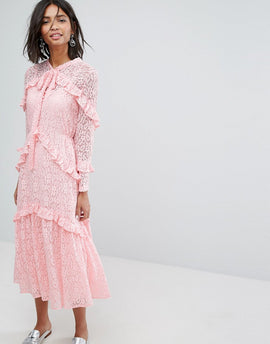 Sister Jane Lace Midi Dress - Pink