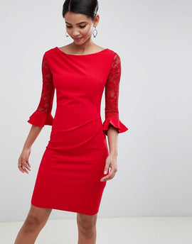 City Goddess Pleated Midi Dress With Lace Sleeves - Red