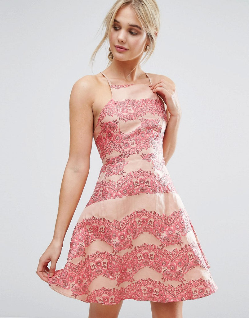 True Decadence Lace Panel Mini Dress With Flippy Hem - Coral