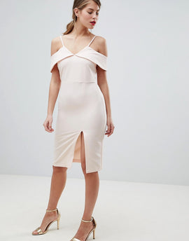 Oasis Cold Shoulder Bodycon Midi Dress - Nude