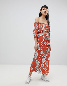 Pull&Bear co-ord floral print skirt in rust - Rust