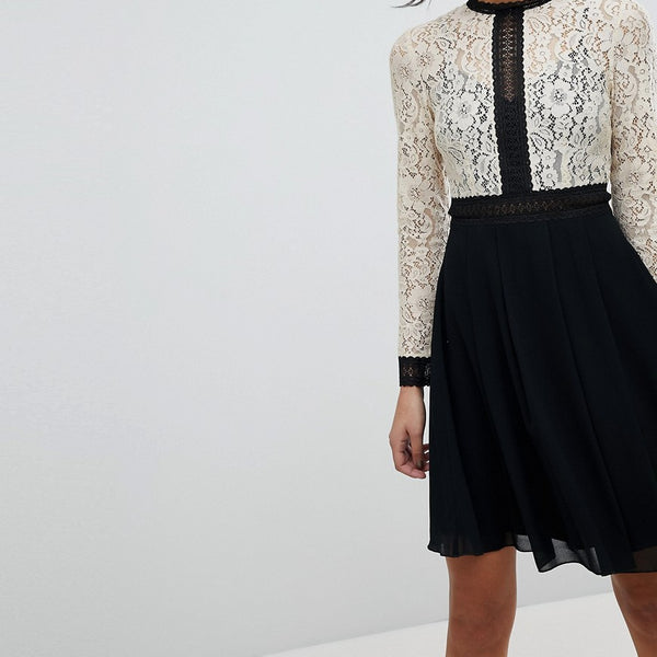 Little Mistress All Over Lace Top Dress With Prom Skater Skirt - Cream/black multi