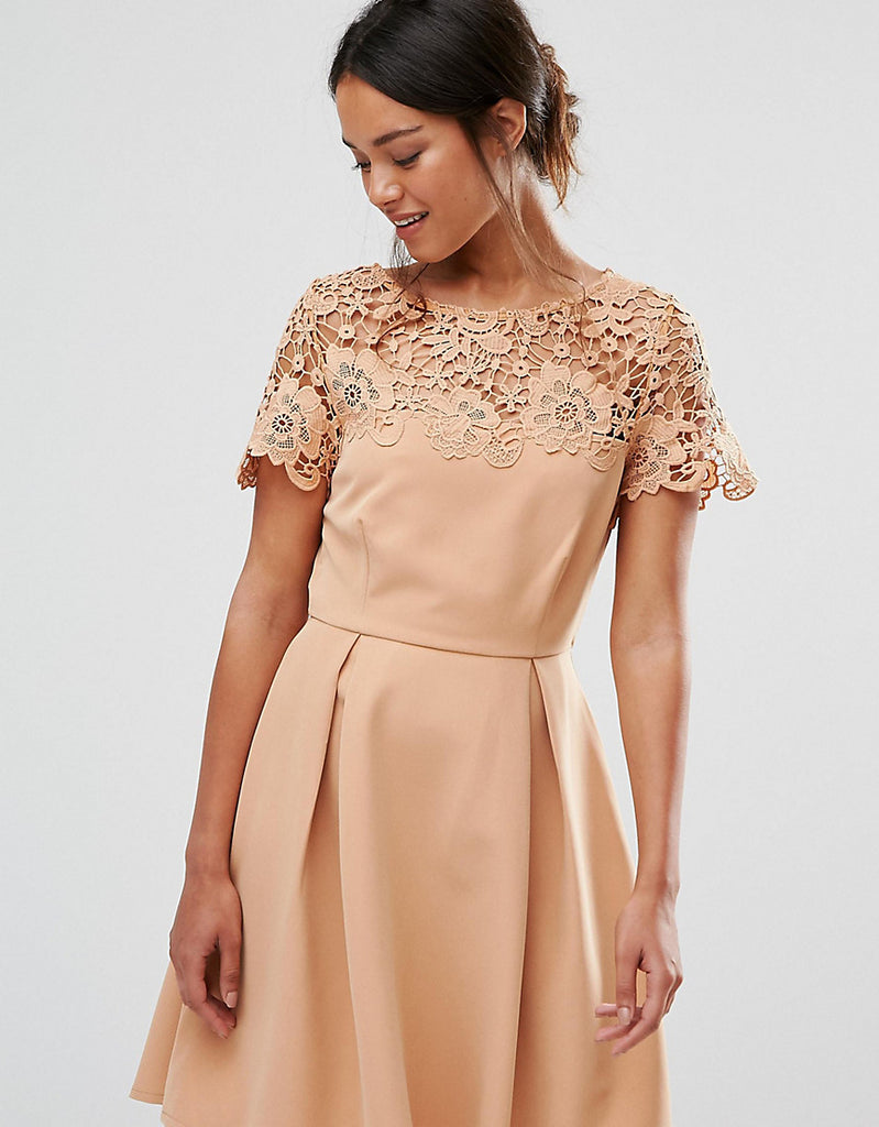 Paper Dolls Petite Prom Dress With Tonal Lace Overlay - Camel