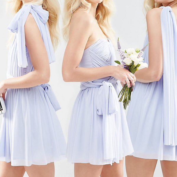 ASOS PETITE WEDDING Multiway Mesh Mini Dress - Icy blue