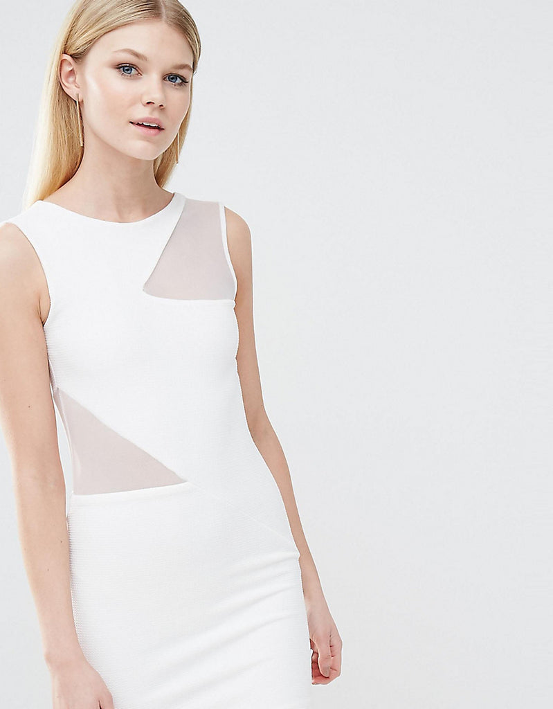 TFNC Petite Mesh Insert Bodycon Dress - White