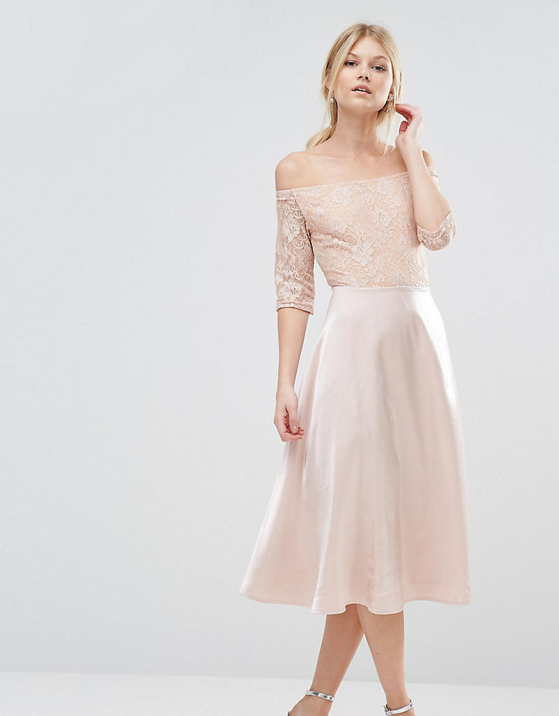 True Decadence Petite Lace Bardot Midi Prom Dress - Pink