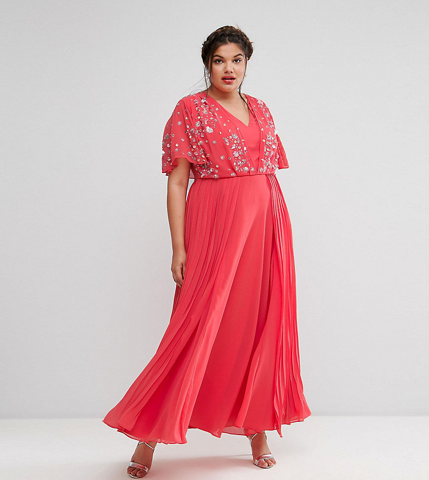 ASOS CURVE Pretty Embellished Pleated Maxi Dress - Pink
