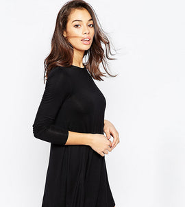 ASOS PETITE Swing Dress with Long Sleeves and Seam Detail - Black