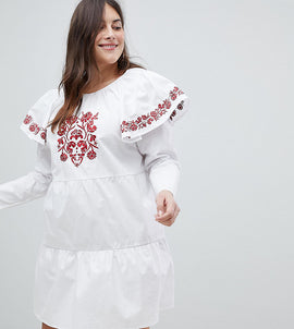 Fashion Union Plus Embroidered Smock Dress With Exaggerated Sleeves - White