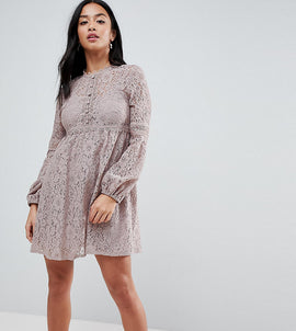 Little Mistress Petite All Over Lace Smock Dress With Bell Sleeve Detail - Oyster