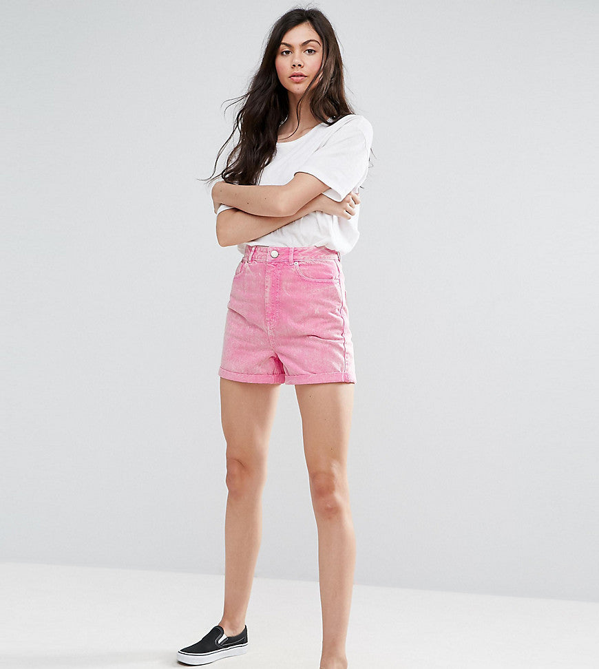 ASOS TALL Denim Mom Shorts in Pink - Pink
