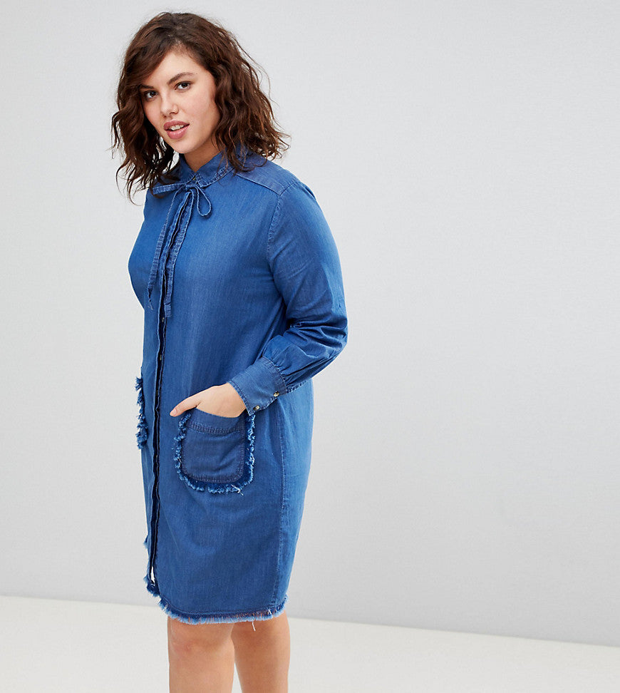Lost Ink Plus Denim Swing Dress With Frayed Pockets - Blue