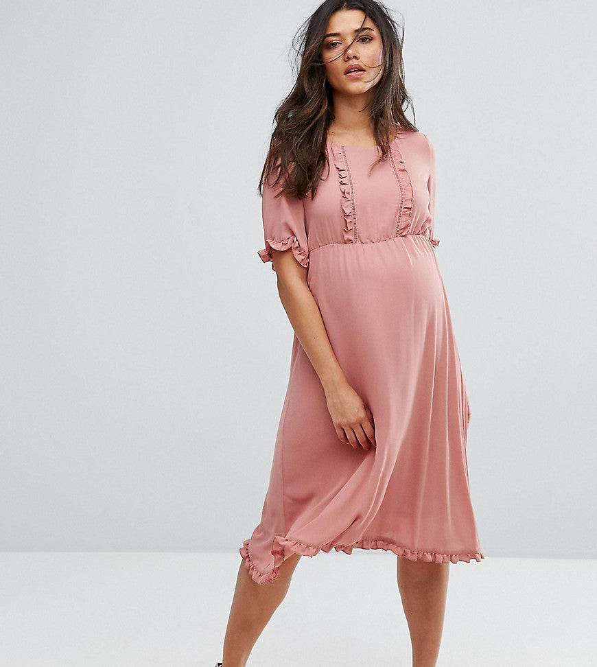 Mamalicious Frill Detail Skater Dress - Rose