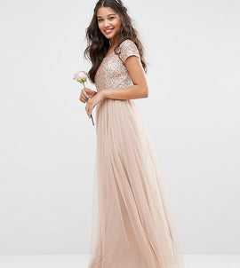 Maya Bardot Maxi Dress With Delicate Sequin And Tulle Skirt - Mink
