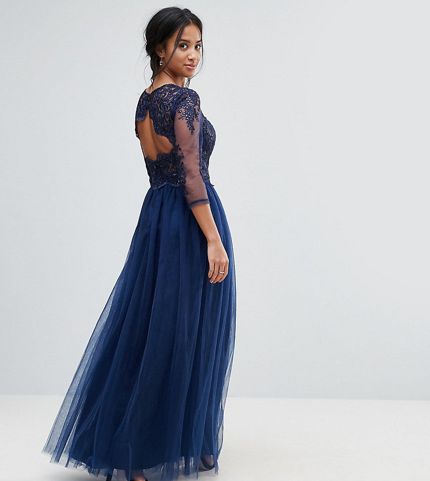 Chi Chi London Petite High Neck Maxi With Cut Out Lace Back Detail - Navy