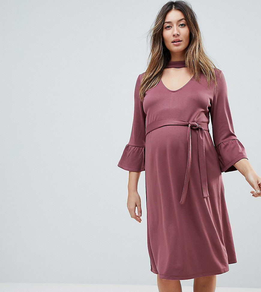 Mamalicious Choker Shift Dress With Frill Sleeve - Rose brown