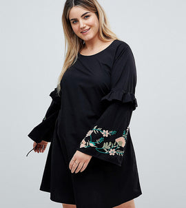 Junarose Embroidered Dress With Frill Detail - Black