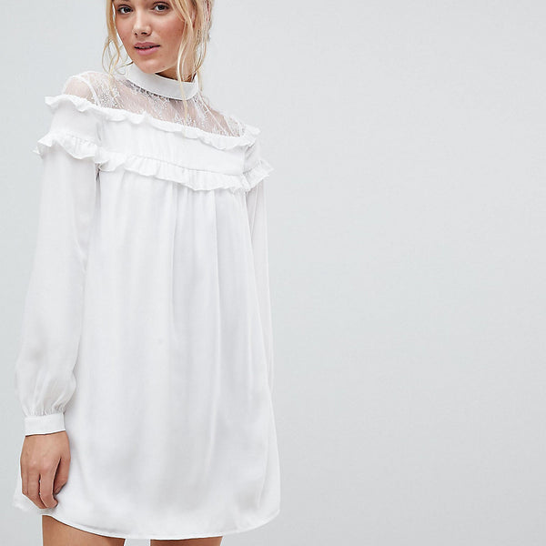 Fashion Union Tall High Neck Dress With Lace Contrast And Ruffle Detail - White